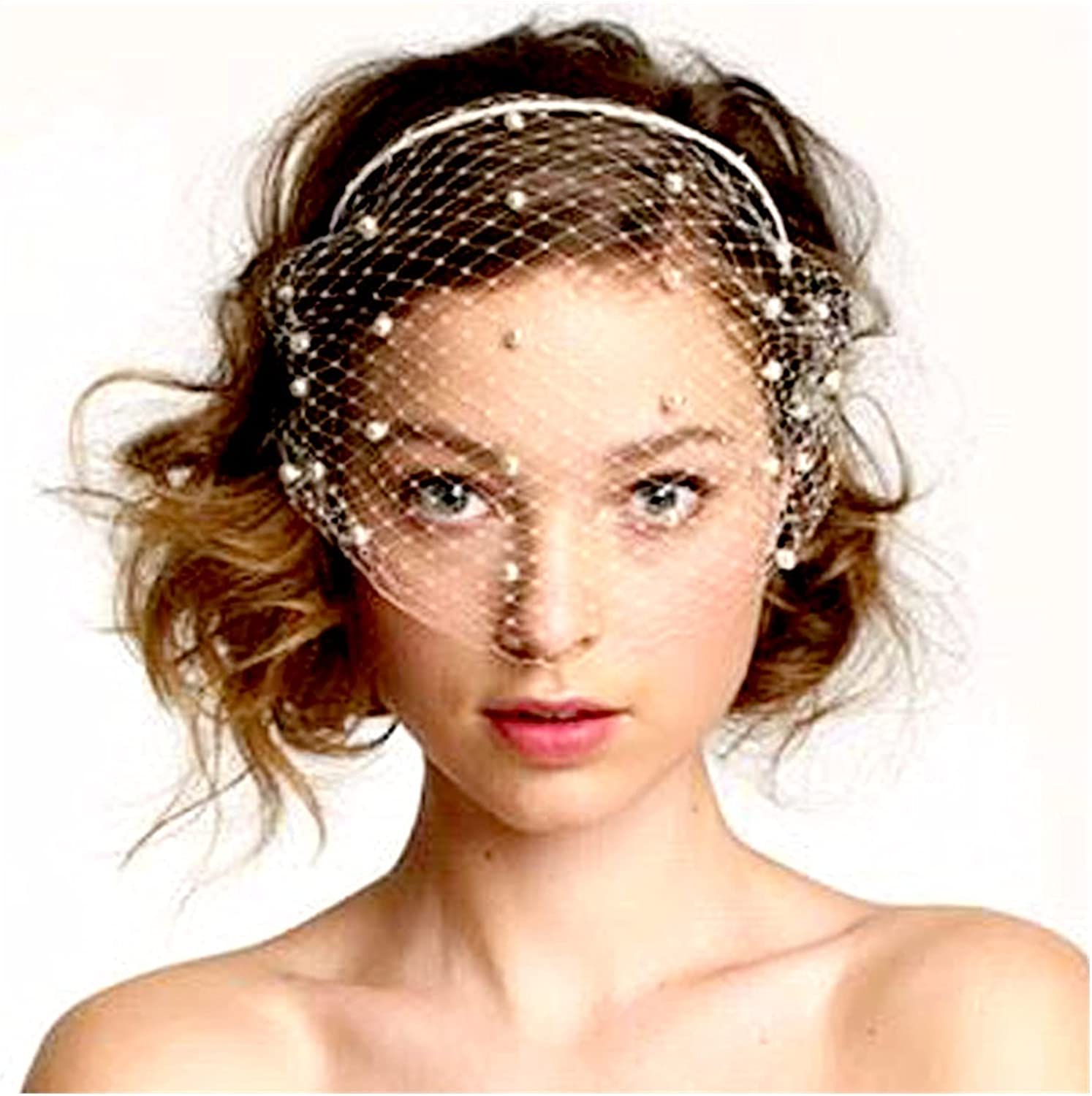 HAQTXI Bridal Crystal Birdcage Black Face Net Mask Hair Jewelry Accessories Veils Charming Wedding Fascinators with Comb for Women and Girls (Color : 4-White- Pearls)