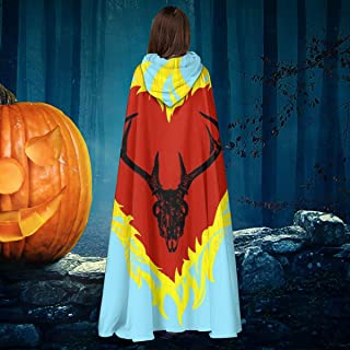 Game of Thrones Stannis Baratheon Sigil Stagg in A Heart of Flames Unisex Christmas Halloween Witch Knight Hooded Robe Vampires Cape Cloak Cosplay Costume Black