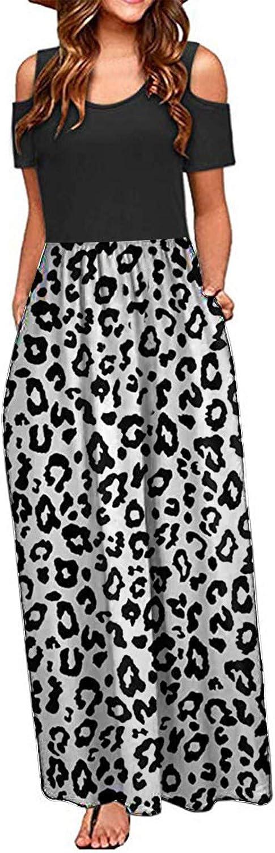 Dresses for Women Casual, Women Women Summer Cold Shoulder Floral Printing Elegant Cami Long Dress Pocket Dress