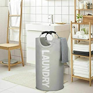 82L Large Laundry Basket Collapsible Fabric Laundry Hamper Tall Foldable Laundry (Light Gray)
