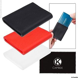 Samsung T5 / T3 / T1 SSD 用シリコン保護スリーブ 3X - 傷や衝撃に強いケース - 赤、黒、透明 - 手袋のようなフィット感 D0735-SHD-RTB