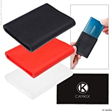 CAMKIX Sleeve Compatible with Samsung T5 / T3 / T1 SSD - Set of 3 - Silicone Scratch and Shock Proof Case - Red, Black and Transparent - Non-Slip Rubber Skin for Your External Drive