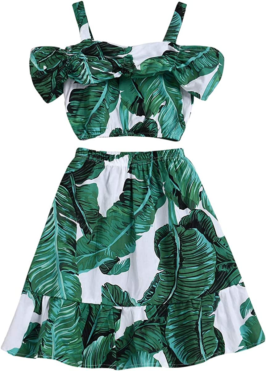Toddler Baby Girl Strap Banana Leaf Print Strappy Cold Shoulder Cropped Top + Long Skirts Outfits Clothes Set