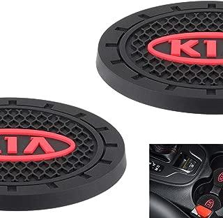 AOOOOP Car Interior Accessories for KIA Cup Holder Insert Coaster - Silicone Anti Slip Cup Mat For KIA Sportage Soul Niro Sorento Sedona Rio Forte Optima Stinger Cadenza K900(Set of 2, 2.75