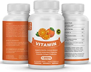 Vitamin C 1500 mg Per Day - Chewable - Vegan Friendly 90 Tablets - Supports Immune System - Gluten Free