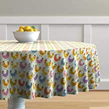 Roostery Round Tablecloth, Hens Chickens Farmhouse Chicks Farm Animal Spring Watercolor Hen Chicken Nursery Rainbow Colorful Easter Print, Cotton Sateen Tablecloth, 70in