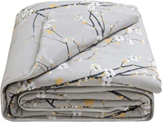 Bedsure Weighted Blanket Cover 60x80-100% Cotton - Queen Duvet Cover for Weighted Blanket - Plum Blossom Pattern - - 3-Sided Zipper for Removal & Washing - Grey (Duvet Cover Only)