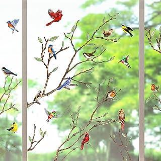 Yovkky Tree Branch Birds Window Clings 9 Sheets, Cardinal Wall Glass Stickers Decals Summer Fall Hummingbird Decor, Season...