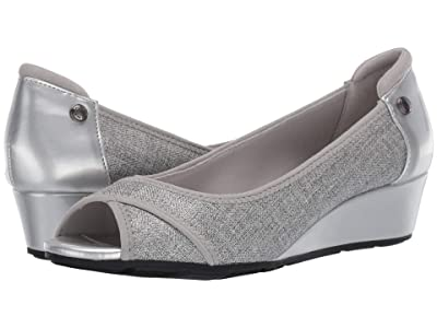 Anne Klein Sport Corner Wedge Heel (Silver) Women