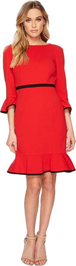 Donna Morgan - 3/4 Sleeve Crepe Shift Dress w/ Contrast Piping Detail