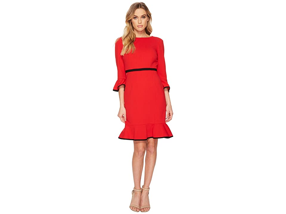 Donna Morgan 3/4 Sleeve Crepe Shift Dress w/ Contrast Piping Detail (Red/Black) Women