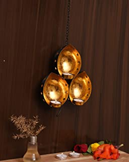 CraftVatika Iron Wall Candle Holder Sconce Hanging | Tea Light Candle Holder for Living Room | Decor for Home Indoor, Part...