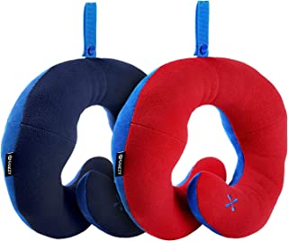 BCOZZY Kids Chin Supporting Travel Pillow - Keeps Your Child's Head from Bobbing up and Down in car Rides, Providing Comfort and Support for The Neck and Head. Child Size, Set of 2 (Navy + Red)