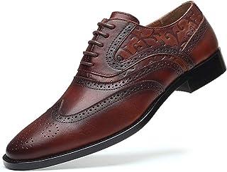 Zapatos casuales Zapatos de oxford de los hombres, cordones de becerro de cuero de cuero casual, cordones de ala doble, ta...