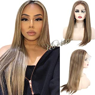 Balayage Lace Front Human Hair Wig Dip Dyed Color Chestnut Brown to Beige Blonde Highlights 16 inch Straight Remy Hair Glueless Lace Frontal Blonde Wig Pre Plucked for White Women