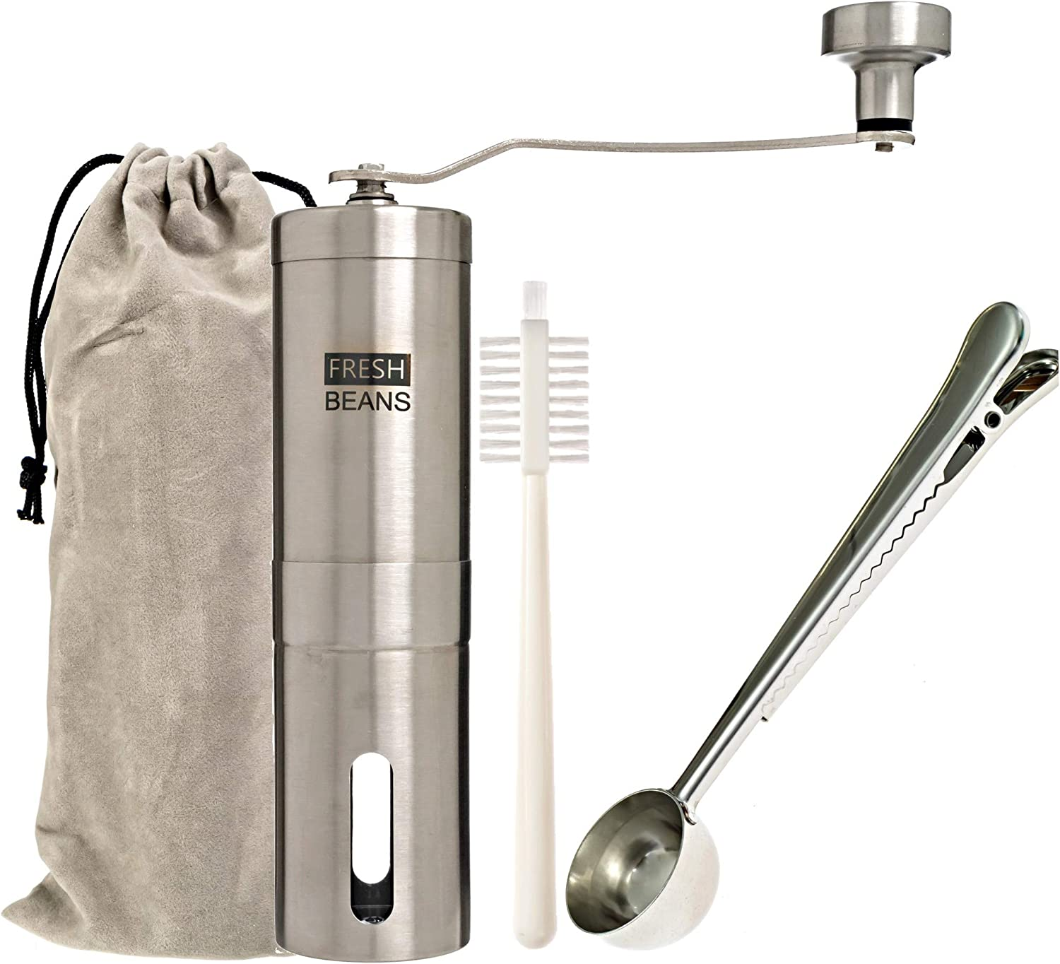 FRESH BEANS - FULL KIT Stainless New Free Shipping Steel Grinder Coffee Manual Outlet SALE