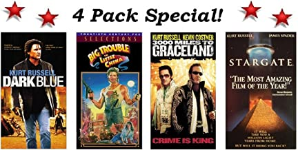 4 Pack Kurk Russell Special! Dark Blue, Big Trouble in Little China, 3000 Miles To Graceland and Stargate