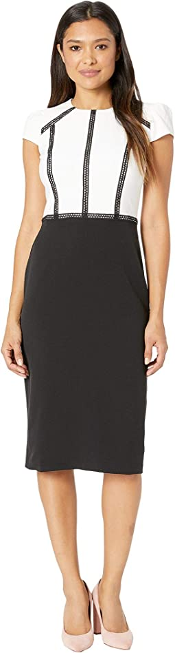 Mystic Crepe Color Block Sheath Dress