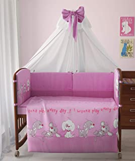 "Polini Kids Baby Bett-Set Wäsche 140x70 ""Funny Game"" rosa 7-tlg"