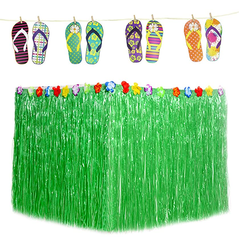 Hysagtek Summer Party Decoration Hawaiian Luau Hibiscus Green Table Skirt and Paper Slipper Banners Garland Bunting for Tropical Hawaiian Summer Beach Luau Party Birthday Party Decorations Supplies