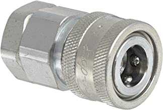 """Snap-Tite VHC4-4F Zinc-Plated Steel H-Shape Quick-Disconnect Hose Coupling, Sleeve-Lock Socket, 1/4"""" NPTF Female x 1/4"""" Coupling Size"""
