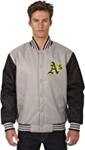J.H. Design Oakland Athletics MLB Jacket Poly-Twill Grey Black with Embroidered Logos