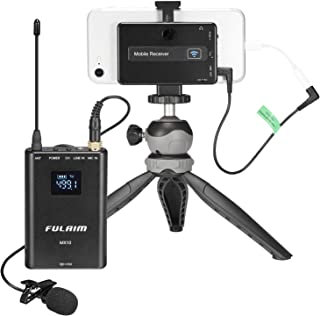 FULAIM MX10 Wireless Lavalier Microphone System for iPhone DSLR Camera Android Cell Phones, UHF 4-Channel Wireless Lapel Microphone System for Professional Video Recording, Interview, Youtube and Vlog