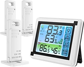 CAMWAY Digital Wireless Thermometer Hygrometer Indoor Outdoor Thermometer with 3 Remote Sensors Temperature Humidity Monitor with Min//Max Value and Alarm
