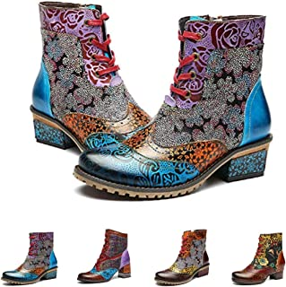 Ankle Bootie for Women, Leather Boots Vintage Fashion Short Boots Side Zipper Floral Pattern