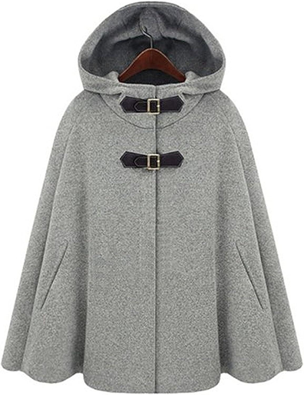 FashionRun Women's Trendy Batwing Cape Wool Poncho Jacket Warm Cloak Coat