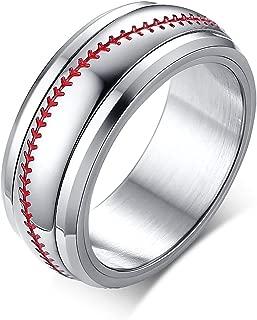 POVANDER Stainless Steel Sporty Baseball Design Spinner Fidget Ring Band for Men Boy