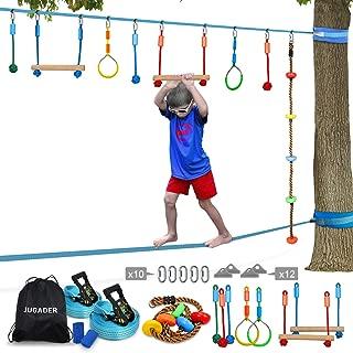 Ninja Line Slackline, Upgraded Ninja Warrior Training Equipment for Kids with Slackline Kits, Obstacle Course for Home for Backyard, Safer than Single NinjaLine