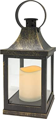 "YAKii 10"" LED Flameless Candle Lantern with Swinging Ring, Yellow Light Flicker Battery Operated, Brass Finish"