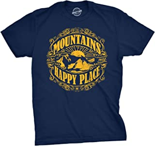 Mens Mountains are My Happy Place Cool Vintage Rockies Outdoor Nature T Shirt