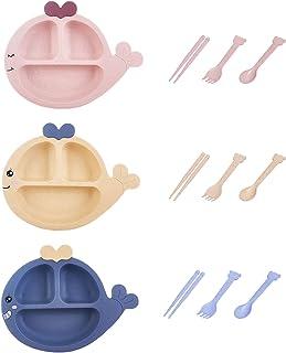 CHSG 3 Pièces de Plaques Paille de Blé Vert, Eco-Friendly Family Dinner Plates, Assiette de Dîner Incassable Bébés Enfants...