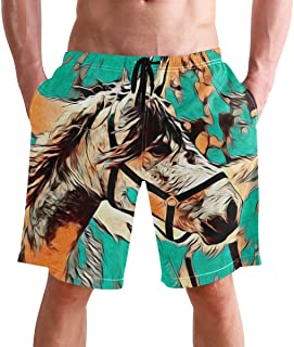 FFY Go Beach Shorts, Horse Art Printed Mens Trunks Swim Short Quick Dry with Pockets for Summer Surfing Boardshorts Outdoo...