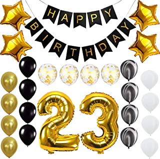 Happy 23rd Birthday Banner Balloons Set for 23 Years Old Birthday Party Decoration Supplies Gold Black