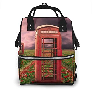 Red Phone Booths Multi-Function Travel Backpack Nappy Bag,Fashion Mummy Bag