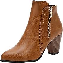 XOXSION Dameslaarzen, elegante dikke hakken, hoge hakken, warme lage laarzen van fleece, herfst en winter, sneeuwlaarzen, ...