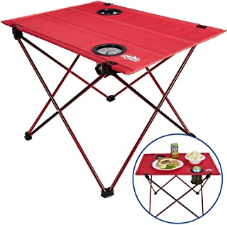 Portable Picnic and Camping Table – Collapsible Accordion Aluminum Frame, Washable Cloth Table Top with Two Cup Holders - Drawstring Carrying Case – Ultra Lightweight - by Outrav