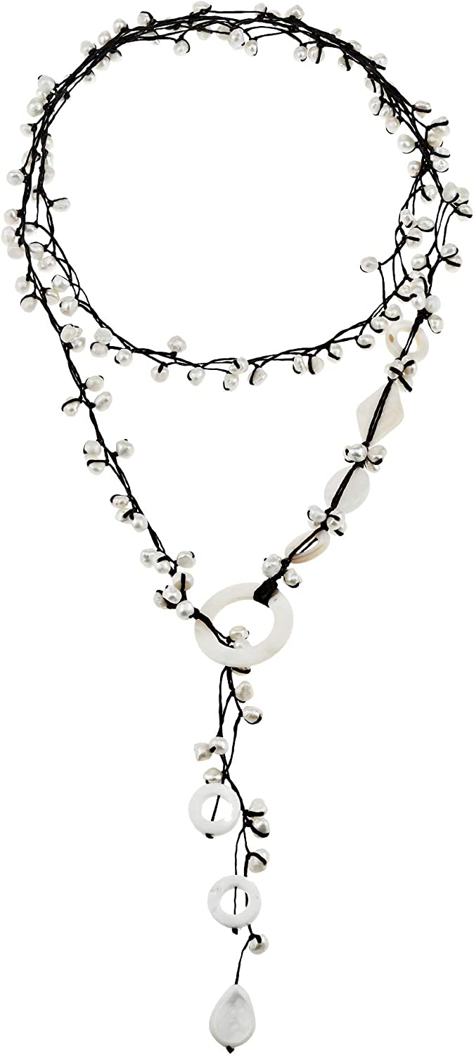 Pretty Cultured Freshwater White Pearl and Mother of Pearl Long Wrap Multi-Wear Necklace