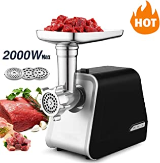 Electric Meat Grinder, Sausage Stuffer with 3 Grinding Plates and Sausage Stuffing Tubes for Home Use &Commercial, Stainless Steel/Silver/2000W(Max)