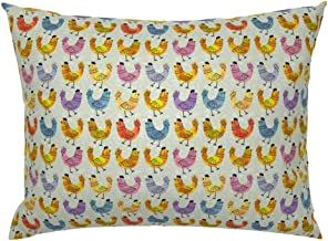 Roostery Pillow Sham, Hens Chickens Farmhouse Chicks Farm Animal Spring Watercolor Hen Chicken Nursery Rainbow Colorful Easter Print, 100% Cotton Sateen 26in x 26in Knife-Edge Sham