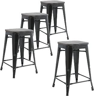 Buschman Set of Four Black Wooden Seat 24 Inches Counter Height Metal Bar Stools, Indoor, Outdoor, Stackable