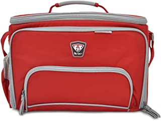 Fitmark the Box LG Large Meal Prep Insulated Bag with BPA Free Portion Control Meal Containers, Reusable Ice Packs, Red