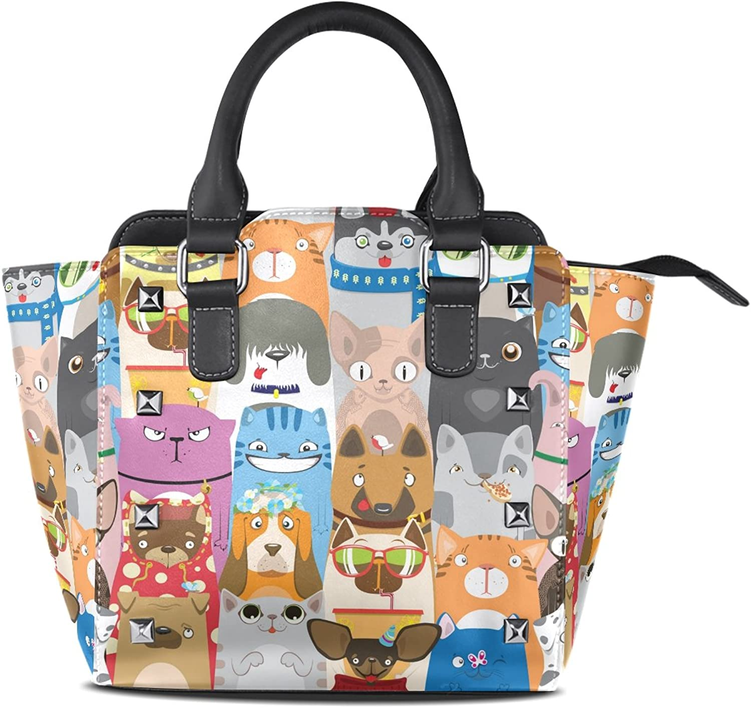 Sunlome colorful Funny Cats and Dogs Print Handbags Women's PU Leather Top-Handle Shoulder Bags