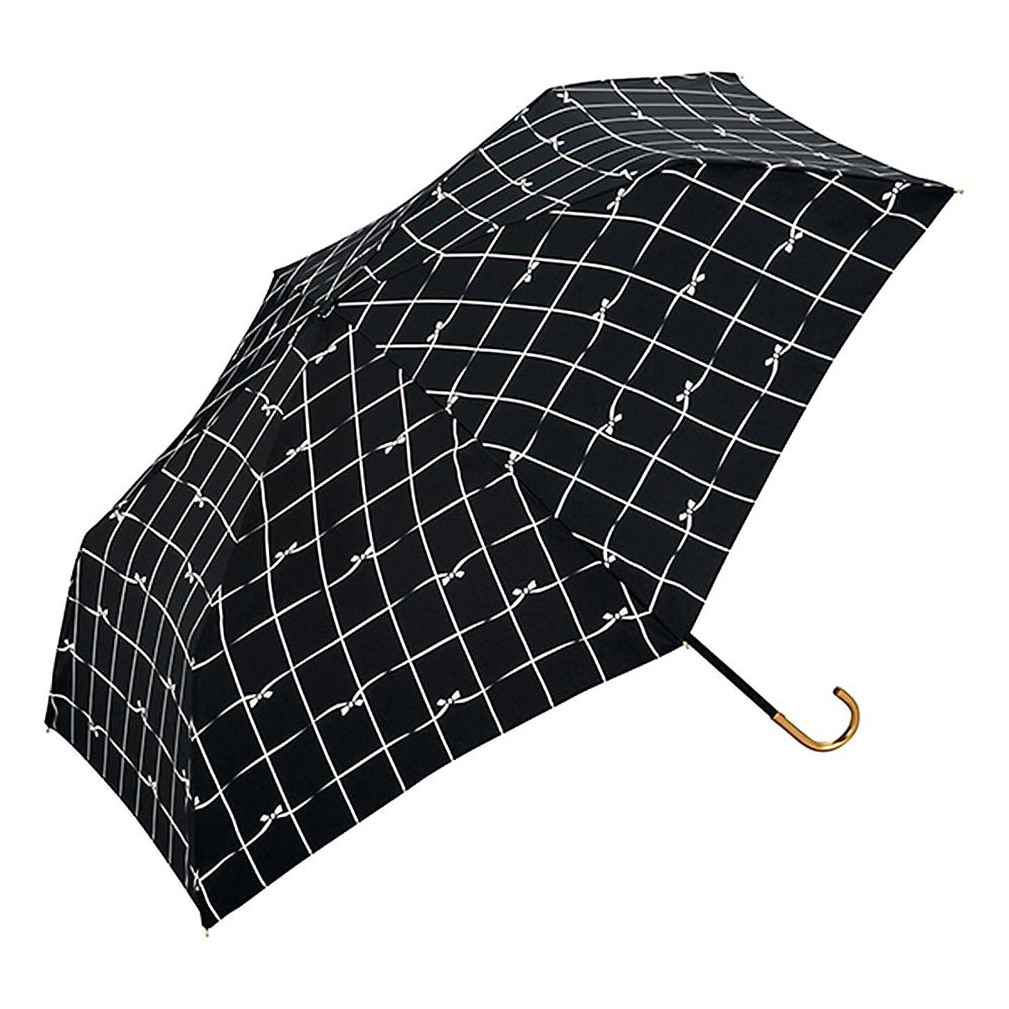 予約討論魂ワールドパーティー(Wpc.) 雨傘 折りたたみ傘  ブラック 黒  50cm  レディース 傘袋付き リボンチェック ミニ 777-018 BK