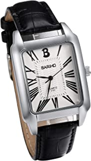 JewelryWe Men Women Watches Analog Square Quartz Watch Simple Luxury Leather Wrist Watch Black White