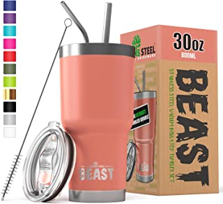 BEAST 30 oz Tumbler Stainless Steel Insulated Coffee Cup with Lid, 2 Straws, Brush & Gift Box (30 oz, Blossom)