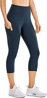 Mujer Cintura Alta Leggings Deportivas Fitness Running Pantalones Capri con Bolsillos -48cm
